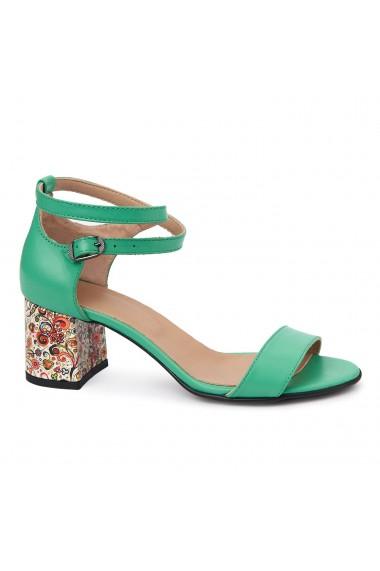 Sandale dama elegante din piele naturala verde 5541