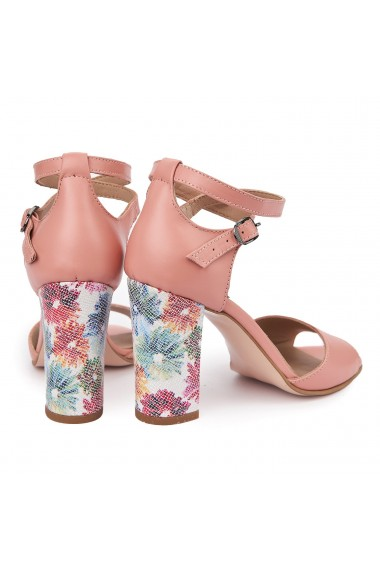 Sandale dama elegante din piele naturala roz flamingo 5543