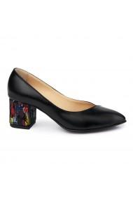 Pantofi dama din piele naturala neagra 4980