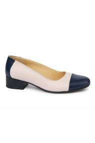 Pantofi dama cu toc mic din piele naturala bej 1934