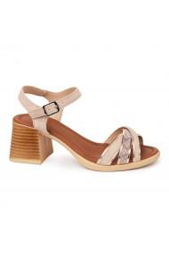 Sandale dama cu toc gros din piele naturala 2414