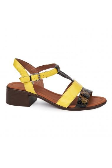Sandale dama cu toc gros din piele naturala 2415