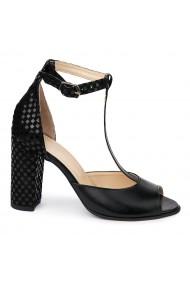 Sandale elegante din piele naturala neagra 5592