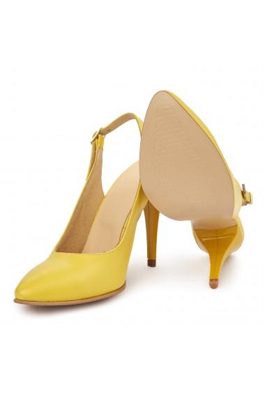 Sandale elegante din piele naturala galbena 5605