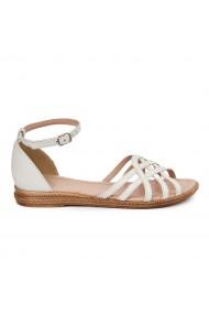 Sandale dama plate din piele naturala alba 5612