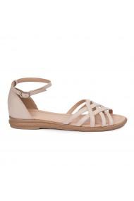 Sandale dama plate din piele naturala bej 5614