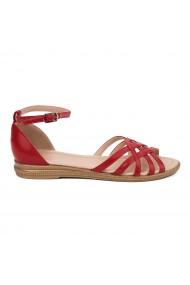 Sandale dama plate din piele naturala rosie 5615