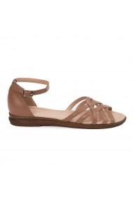 Sandale dama plate din piele naturala maro 5616