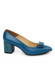 Pantofi dama toc gros din Piele Naturala albastra 4981