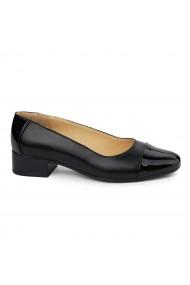 Pantofi dama cu toc mic din piele naturala neagra 8025