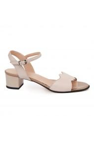 Sandale elegante din piele naturala bej cu toc mic 5691