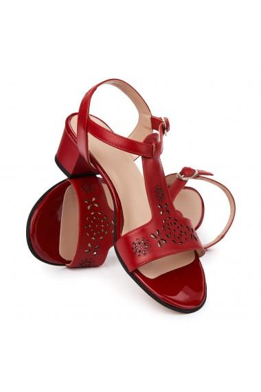 Sandale elegante din piele naturala rosie cu toc mic 5692