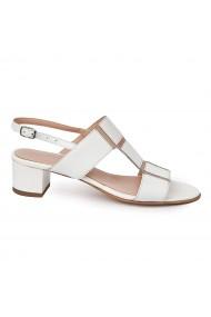 Sandale elegante din piele naturala alba cu toc mic 5694