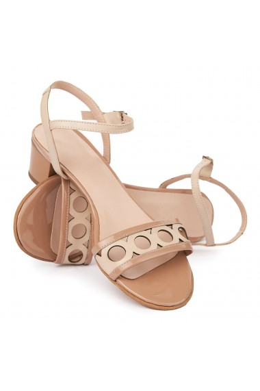 Sandale cu toc mic din piele naturala bej 5697