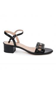 Sandale dama cu toc mic din piele naturala neagra 5698