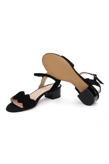 Sandale dama cu toc mic din piele naturala neagra 5699