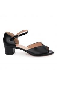 Sandale dama cu toc mic din piele naturala neagra 5701