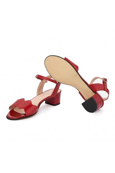 Sandale dama cu toc mic din piele naturala rosie 5702