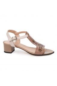 Sandale dama cu toc mic din piele naturala bej 5705