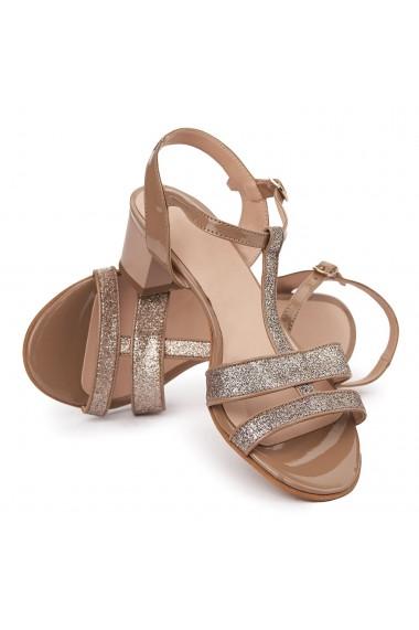 Sandale dama cu toc mic din piele naturala maro 5707