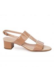 Sandale dama cu toc mic din piele naturala maro 5708