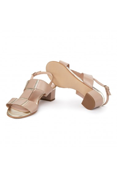 Sandale dama cu toc mic din piele naturala bej 5709