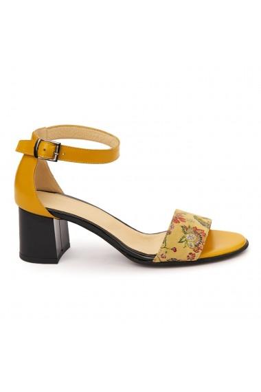 Sandale elegante din piele naturala galbena 5759
