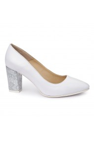 Pantofi dama din piele naturala alba 4998