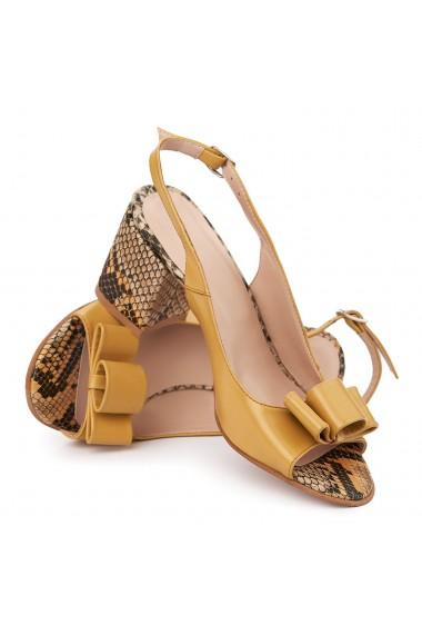Sandale elegante din piele naturala galbena 5626