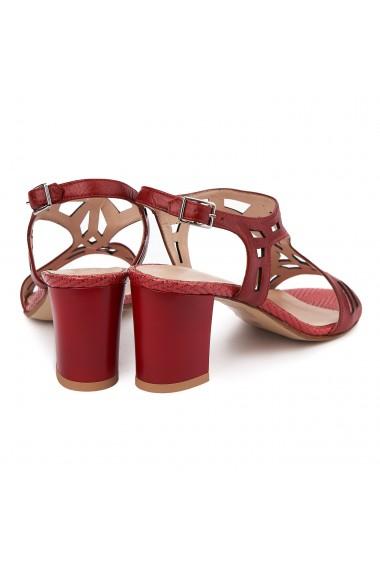 Sandale elegante din piele naturala rosie 5637