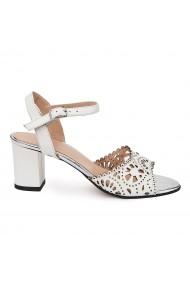 Sandale elegante din piele naturala alba 5649