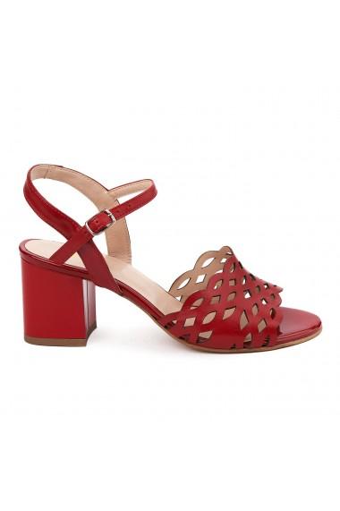 Sandale elegante din piele naturala rosie 5650