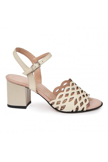 Sandale elegante din piele naturala crem 5651
