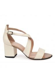 Sandale elegante din piele naturala crem 5652