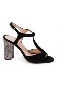 Sandale elegante din piele naturala neagra 5658