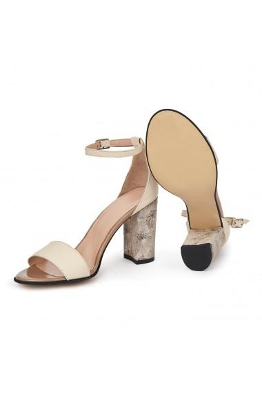 Sandale elegante din piele naturala crem 5677