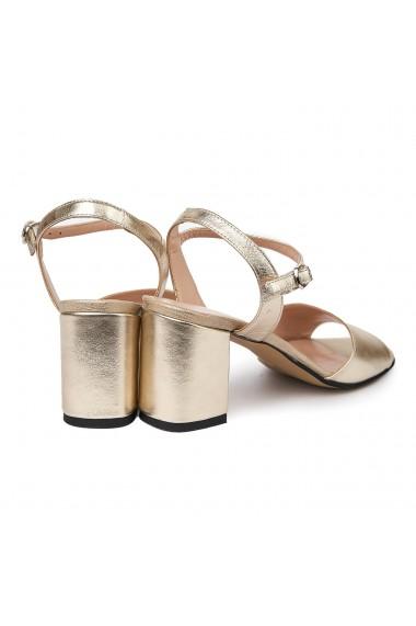 Sandale elegante din piele naturala aurie 5679