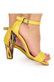 Sandale dama elegante din piele naturala galbena 9019