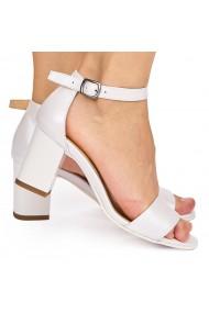 Sandale dama elegante din piele naturala alba 9021