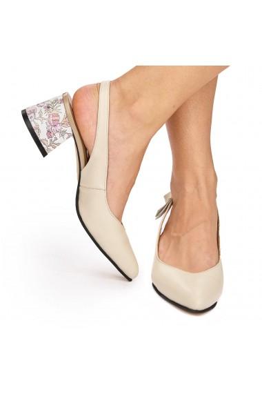 Sandale elegante din piele naturala crem 5817