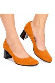 Pantofi dama din piele naturala portocalie 9001