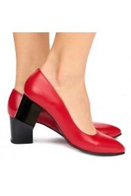 Pantofi dama din piele naturala rosie 9012
