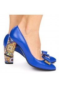 Pantofi dama din piele naturala albastra 9017
