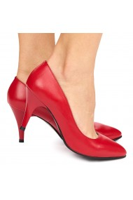 Pantofi dama din piele naturala rosie 9018