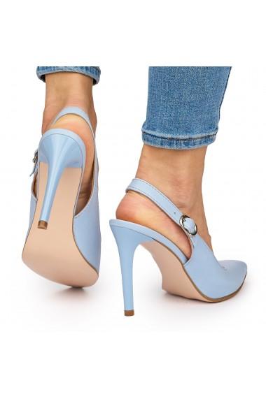 Sandale elegante din piele naturala cu toc subtire albastre 9032