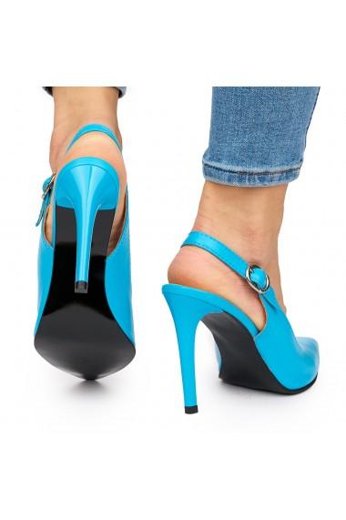 Sandale elegante din piele naturala cu toc subtire albastre 9033