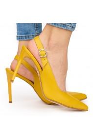 Sandale elegante din piele naturala portocalie cu toc subtire 9034