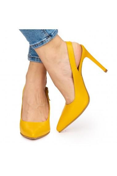 Sandale elegante din piele naturala portocalie cu toc subtire 9035