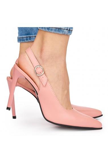 Sandale elegante din piele naturala roz cu toc subtire 9036