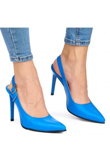 Sandale elegante din piele naturala albastra cu toc subtire 9038
